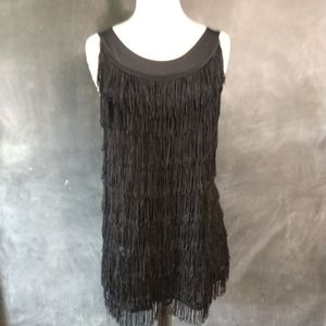 H & M | 1920s Flapper Mini Fringe Shift Dress Med